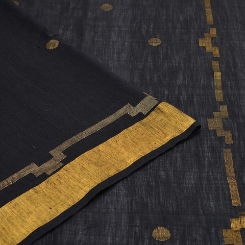 Bengal khadi cotton black golden coin butti Saree
