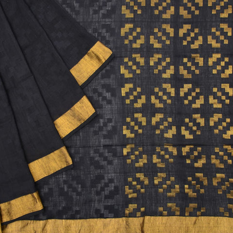 Bengal khadi cotton black plain Saree