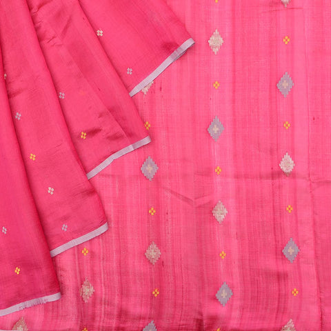 Bengal silk rani pink multicolor floral butti Saree