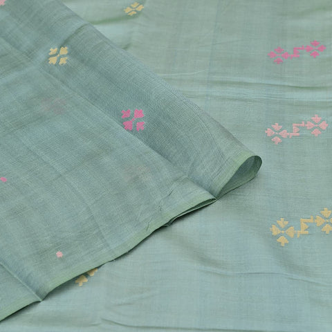 Bengal silk grey multicolor dots Saree