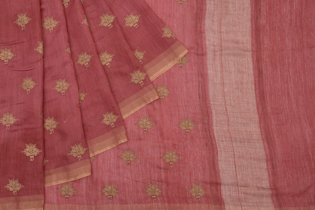 Handloom tussar maroon Saree with parsi work embroidery
