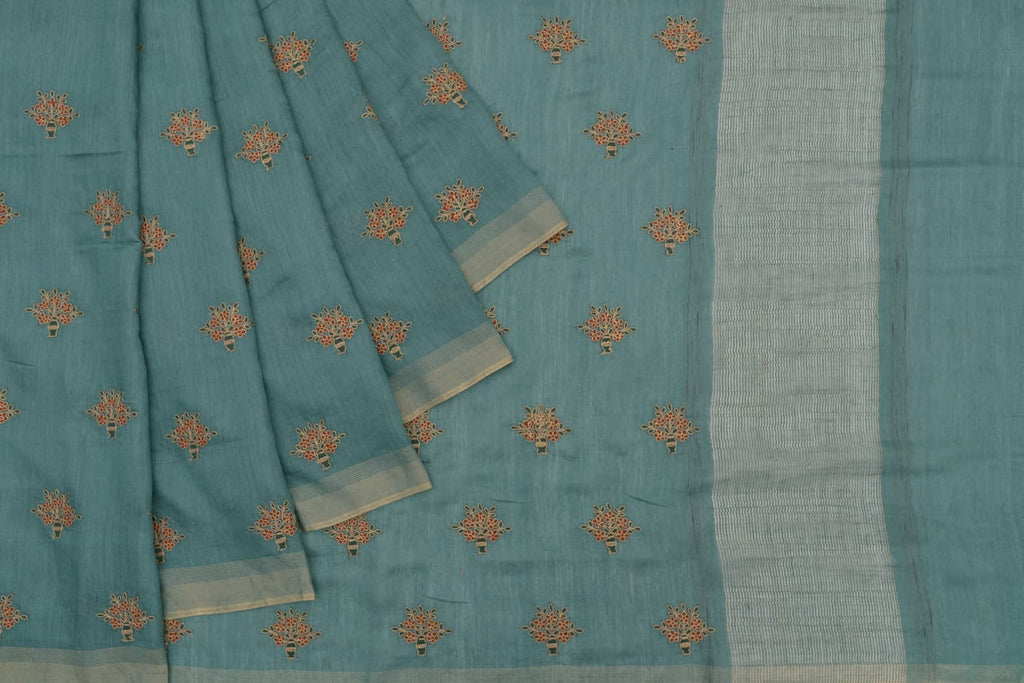 Handloom tussar deep green Saree with parsi work embroidery