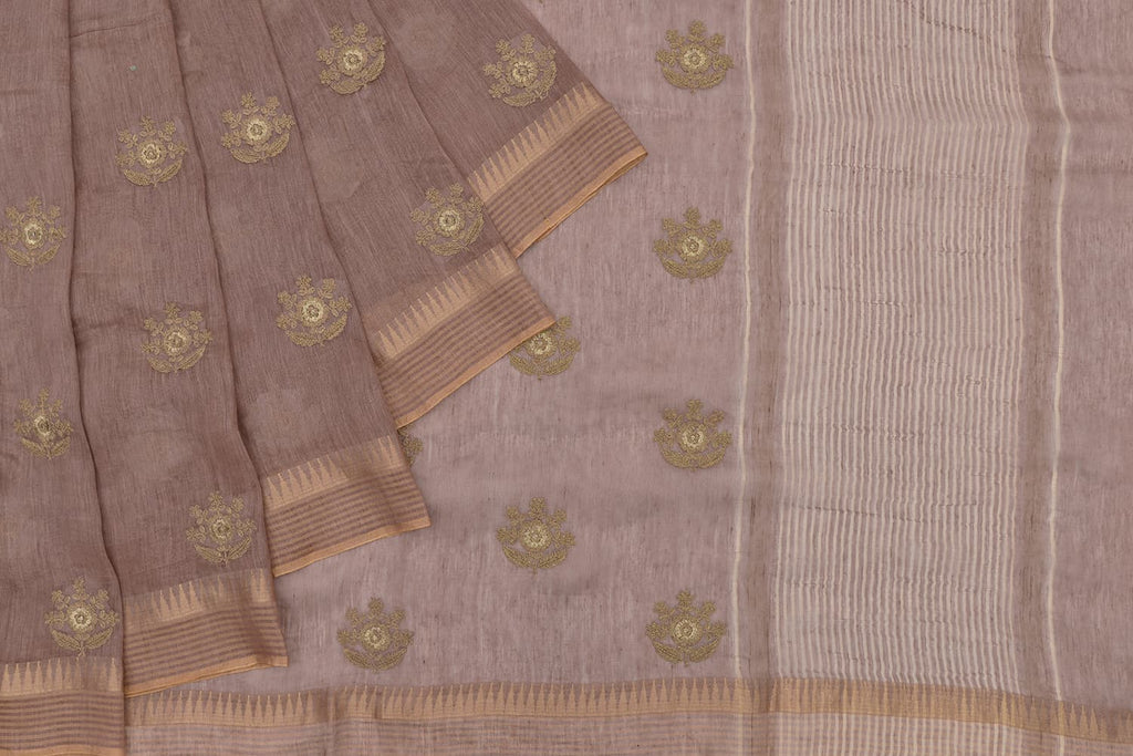 Handloom linen coffee Saree with parsi work embroidery
