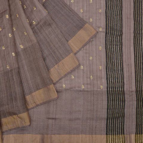 Handloom tussar coffee Saree with sequins work embroidery