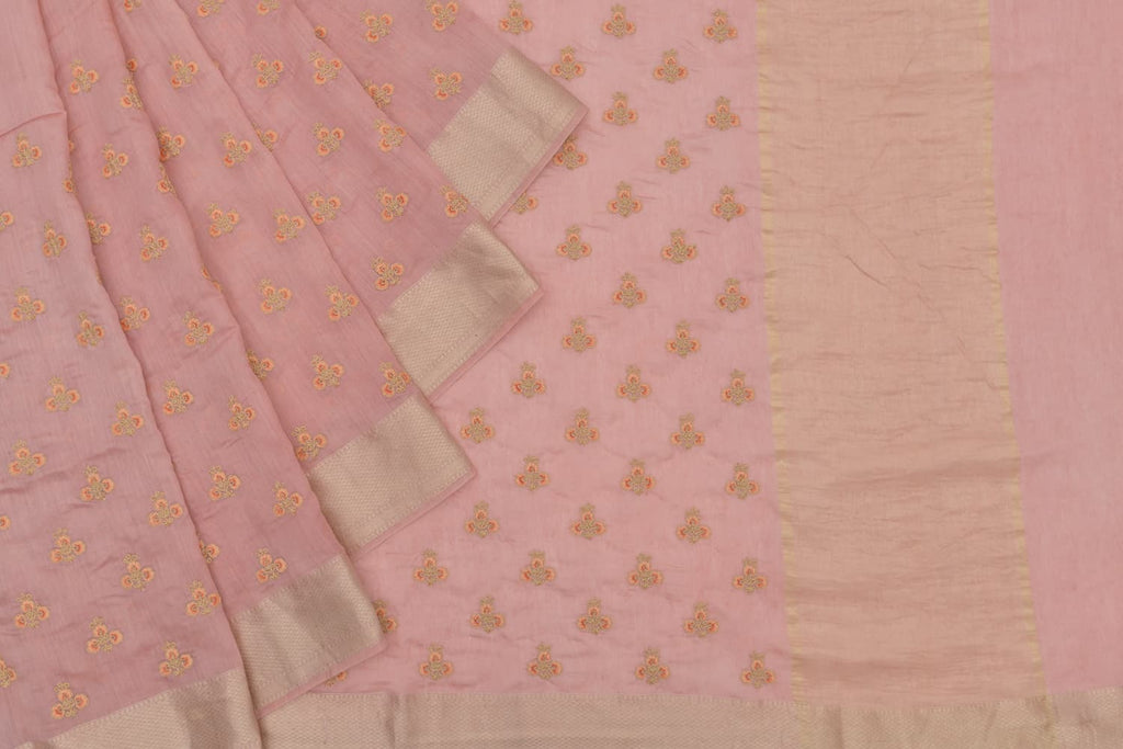 Handloom linen coral pink Saree with parsi work embroidery
