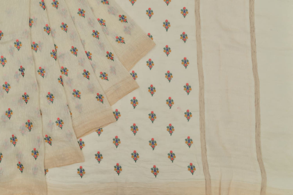 Handloom linen cream Saree with parsi work embroidery