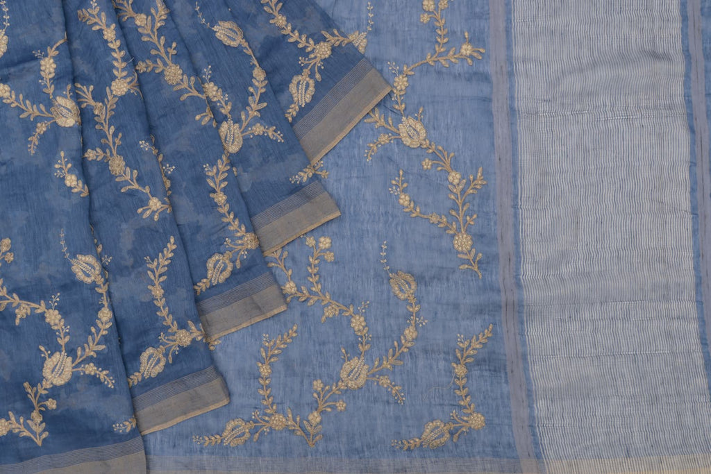 Handloom linen bluish grey Saree with parsi work embroidery