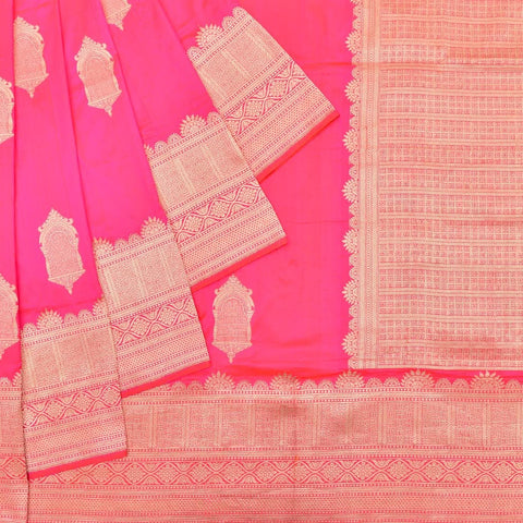 banarasi silk strawberry pink Saree with jharonka Motif