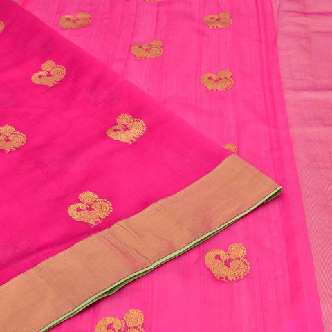Handloom silk magenta pink Saree with peacock Motif