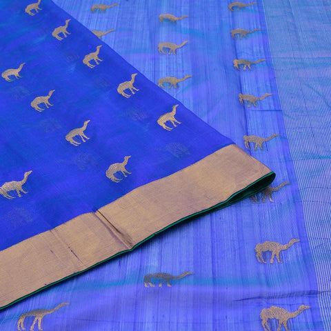 Handloom silk ocean blue Saree with camel Motif