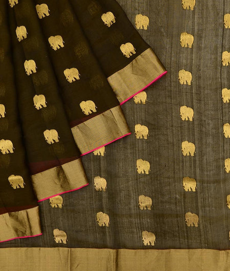 Handloom silk mehandi green Saree with ghaja Motif