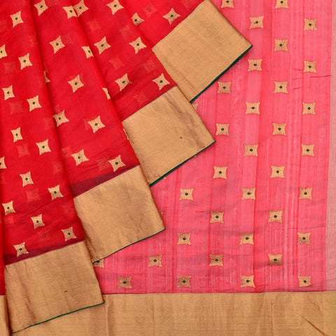 Handloom silk maroon and emerald green Saree with meenakari Motif