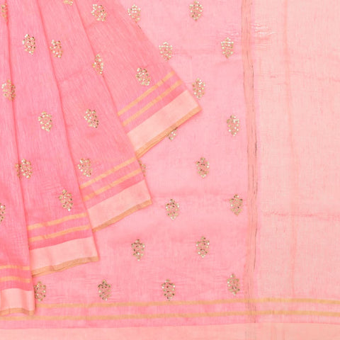 linen watermelon pink Saree with handwoven embroidery