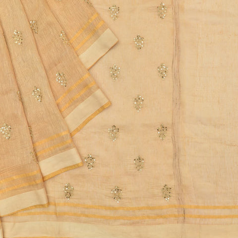 linen beige Saree with handwoven embroidery