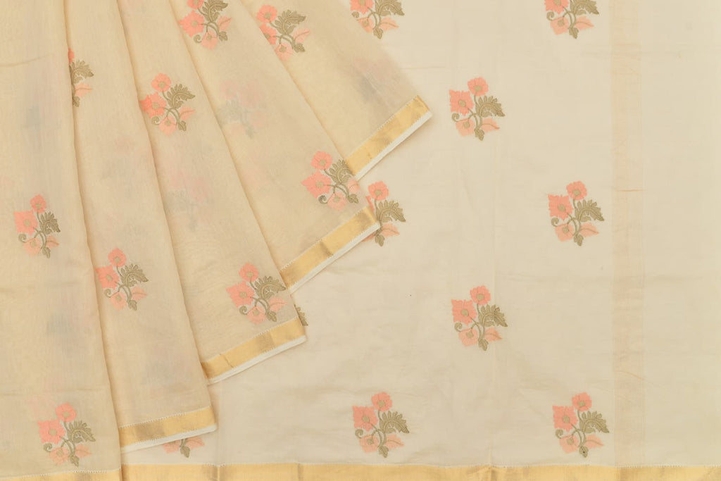 chanderi tissue cream Saree with handwoven embroidery