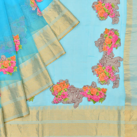 organza ferrozi Saree with handwoven embroidery