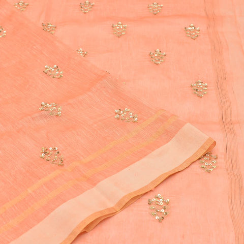 linen tangerine orange Saree with handwoven embroidery