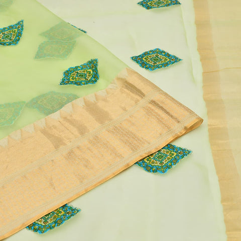 organza parrot green Saree with handwoven embroidery