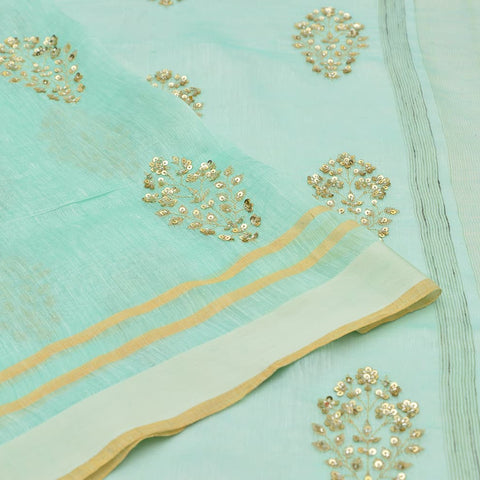 linen mint Saree with handwoven embroidery
