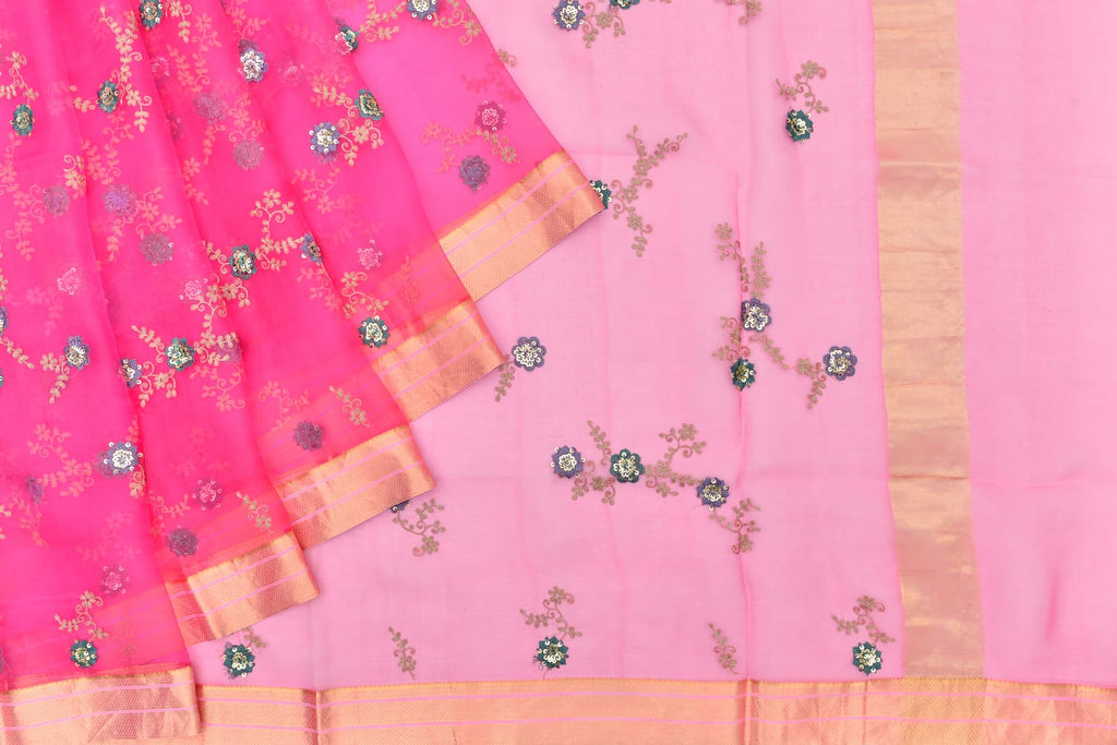 organza magenta pink Saree with handwoven embroidery