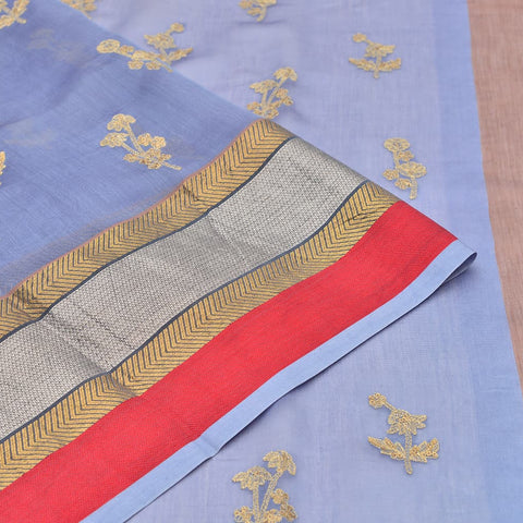cotton and silk blended stone blue Saree with handwoven embroidery
