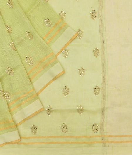 linen olive green Saree with handwoven embroidery