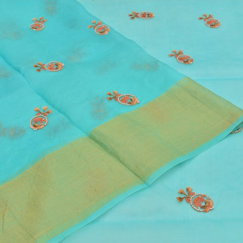 organza sea green Saree with handwoven embroidary