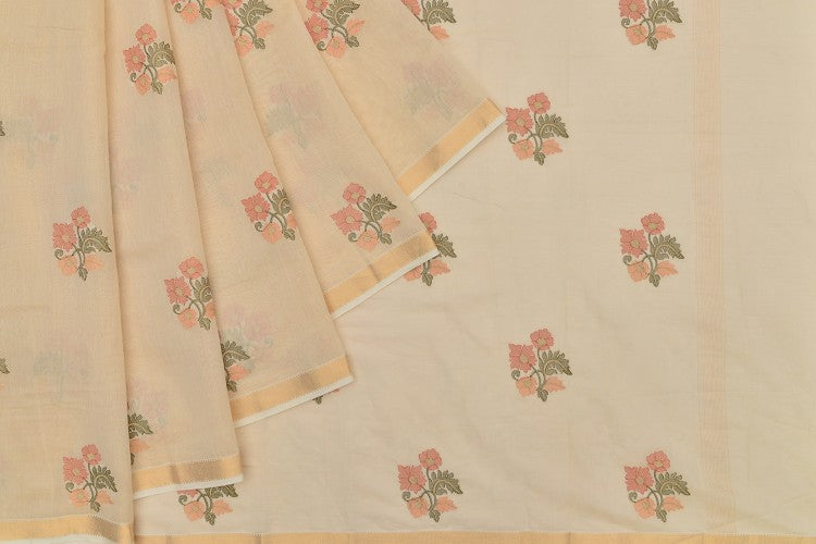 chanderi tissue cream Saree with handwoven embroidary