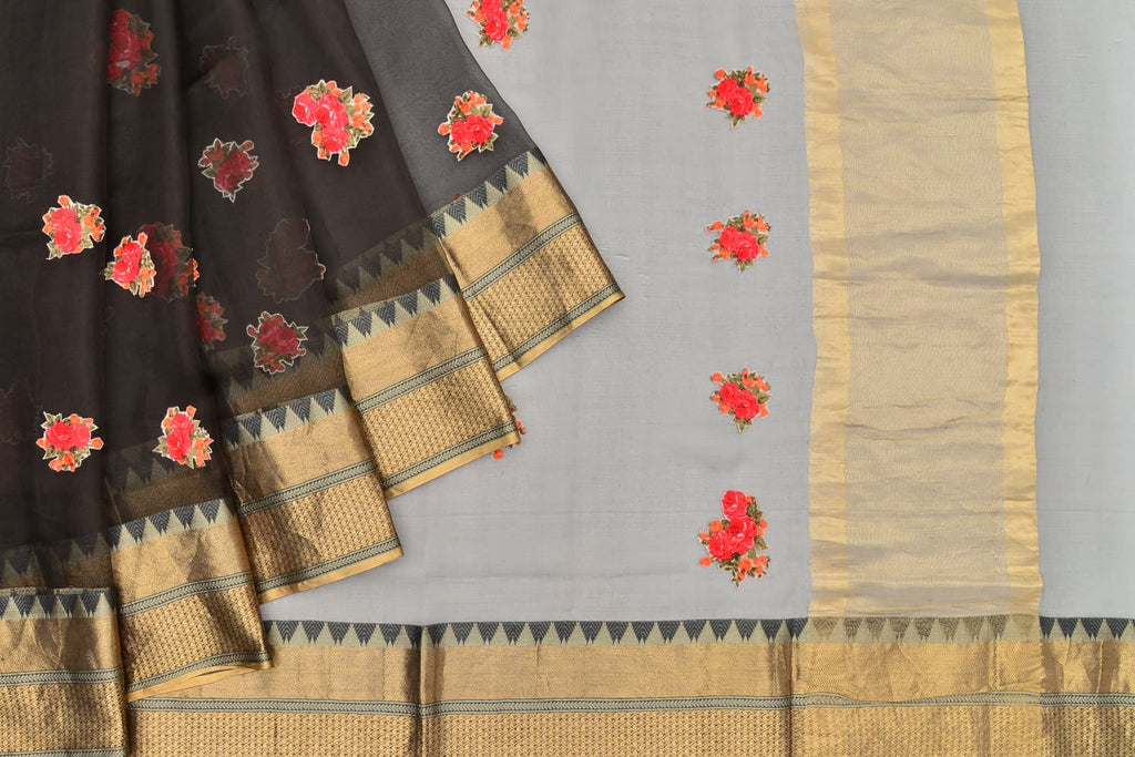 organza black Saree with handwoven embroidery
