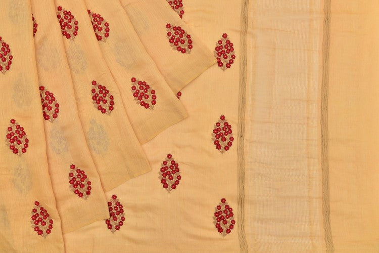 tusser cream Saree with handwoven embroidary