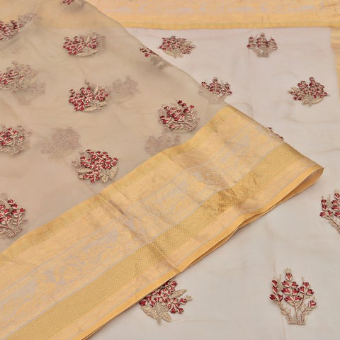 organza beige Saree with handwoven embroidary