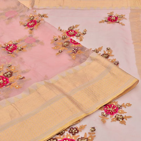 organza rose pink Saree with handwoven embroidary