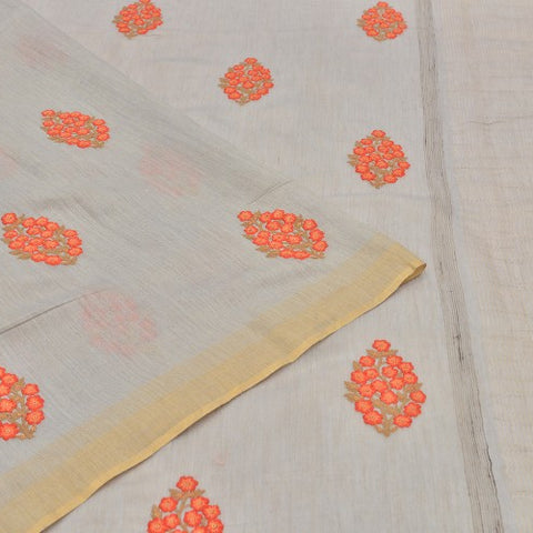 tusser grey Saree with handwoven embroidary