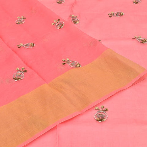 organza watermelon Saree with handwoven embroidary