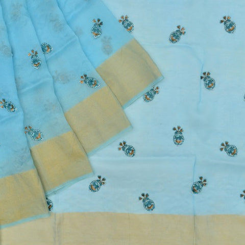 organza  mint Saree with handwoven embroidary