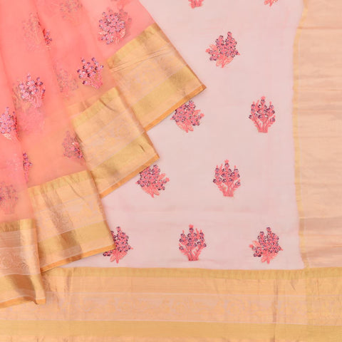 organza peach Saree with handwoven digital print hand applique work