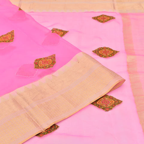 organza magenta pink  Saree with handwoven digital print hand applique work