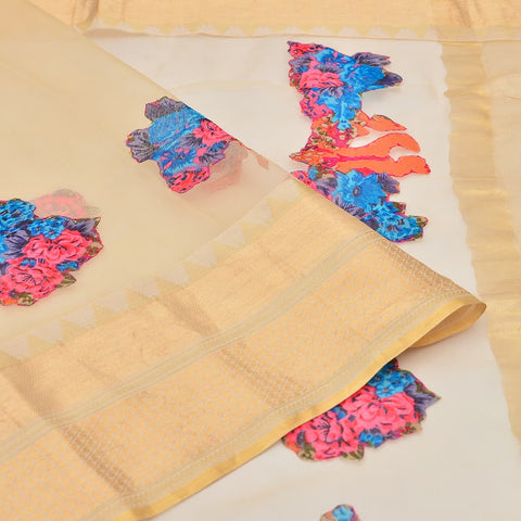 organza cream Saree with handwoven digital print hand applique work