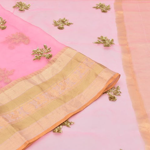 organza pink Saree with handwoven embroidary