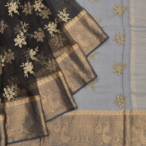 organza silk black Saree with flower Motif
