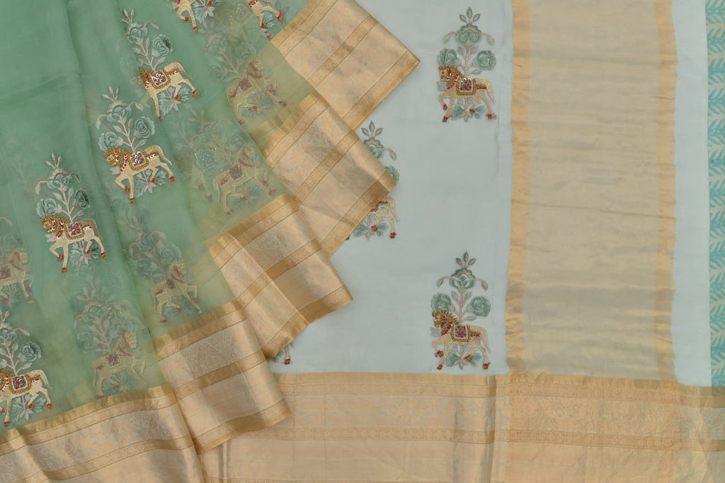 organza silk pista green Saree with horse Motif