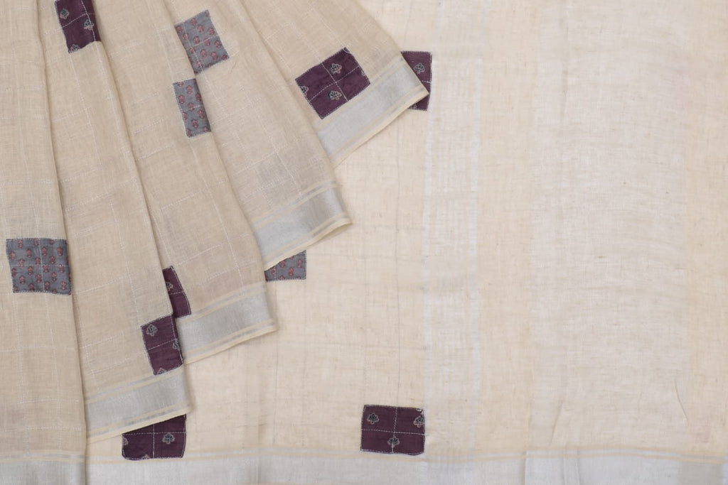 linen beige Saree with patch work Motif