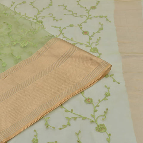 organza silk pista green Saree with thread work Motif
