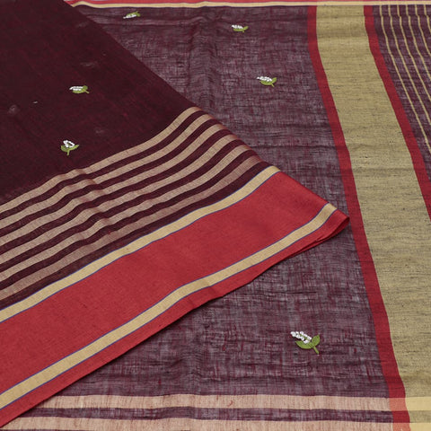 linen dark maroon Saree with french knot embroidery Motif