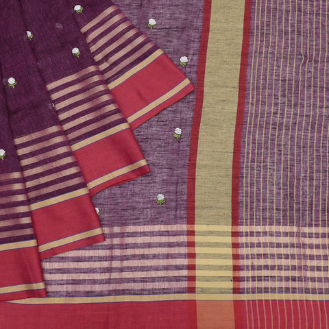 linen wine red Saree with french knots embroidery Motif