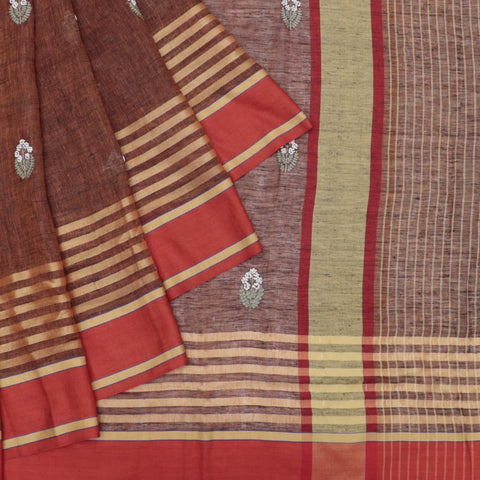 linen brown Saree with french knots embroidery Motif