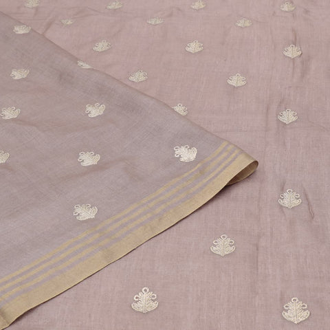 linen dark beige Saree with flower embroidery Motif