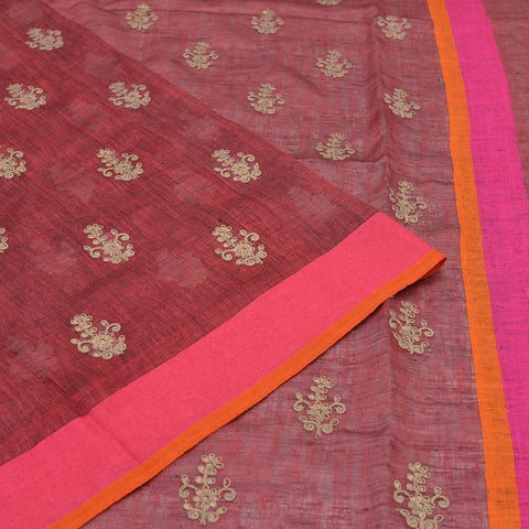 linen crimson red Saree with flower embroidery Motif