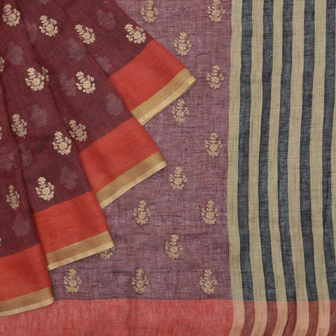 linen dark maroon Saree with flower motifs embroidery Motif