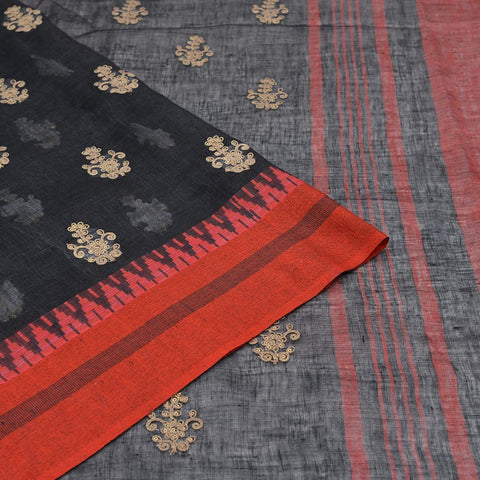 linen black Saree with golden thread flower embroidery Motif